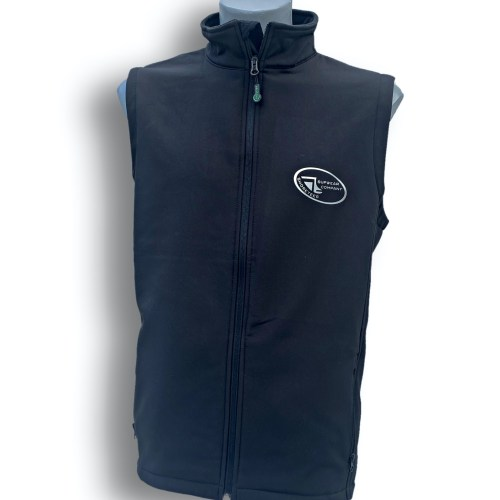Front on image of ShoreTees SUPwear Mens Black Recycled Gillet