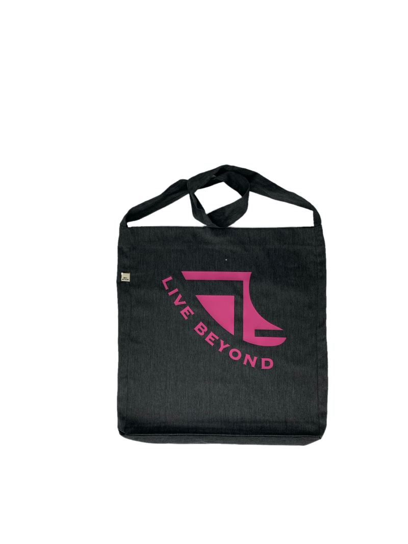 Front of Recycled Melange Black Beach/Tote bag with Pink Logo & 'Live Beyond'