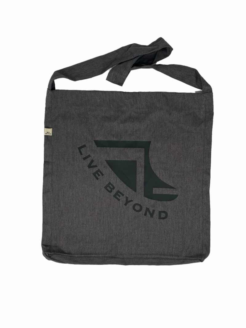 Front of Recycled Grey Beach/Tote bag with Black Logo & 'Live Beyond'