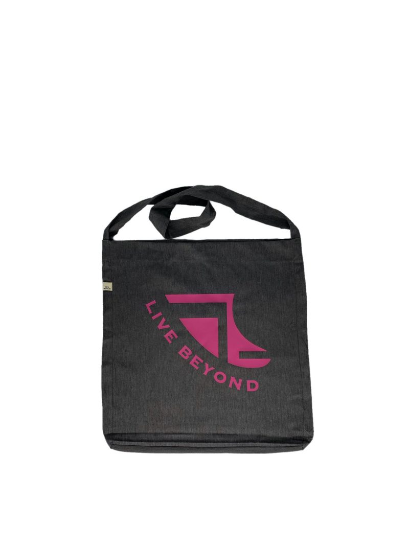 Front of Recycled Grey Beach/Tote bag with Pink Logo & 'Live Beyond'