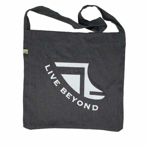 Front of Recycled Grey Beach/Tote bag with White Logo & 'Live Beyond'