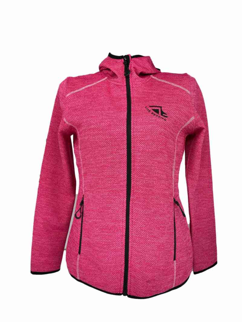Front on image of Ladies Recycled hooded fleece in Sweet Pink with Black 'Live Beyond' print