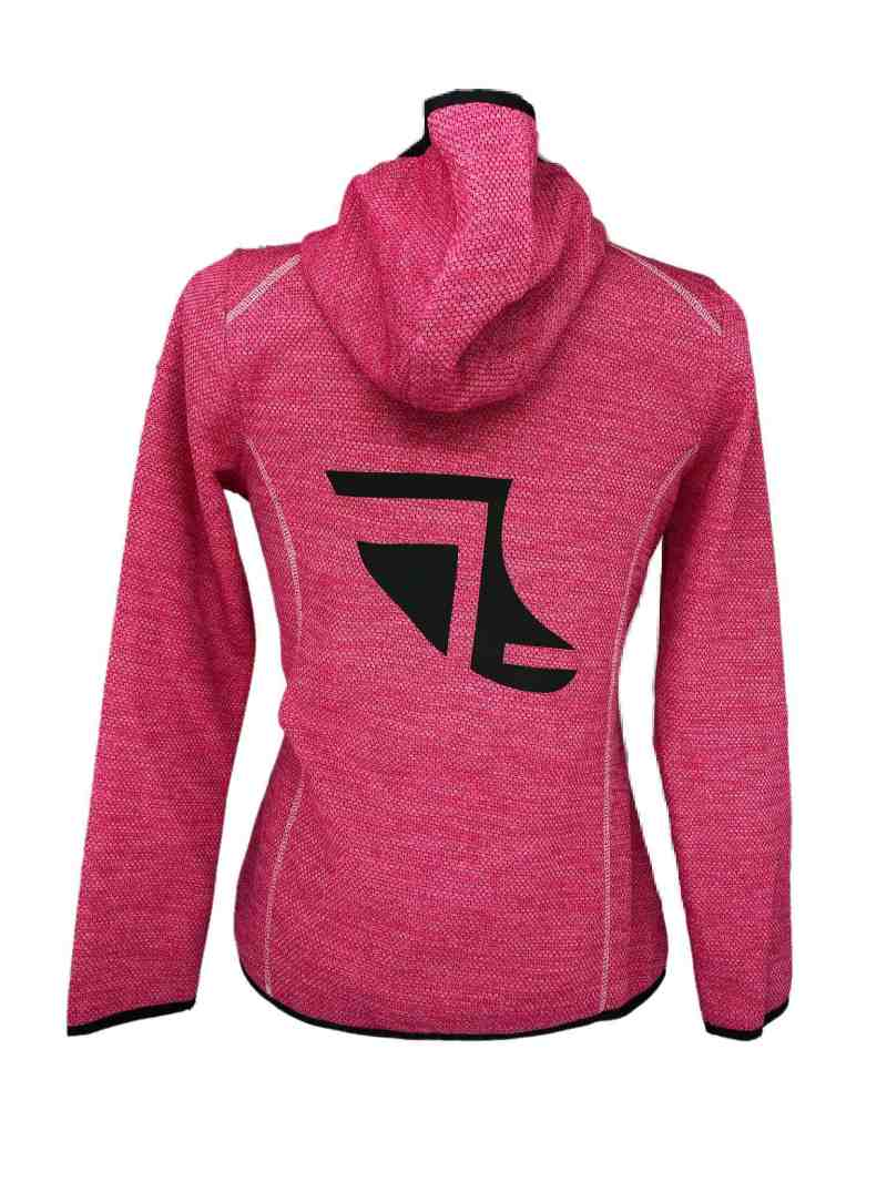Rear image of Ladies Recycled hooded fleece in Sweet Pink with ShoreTees Logo in Black