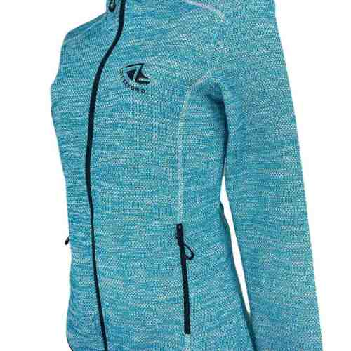 Angled image of Ladies Recycled hooded fleece in Turquoise with Black 'Live Beyond' print