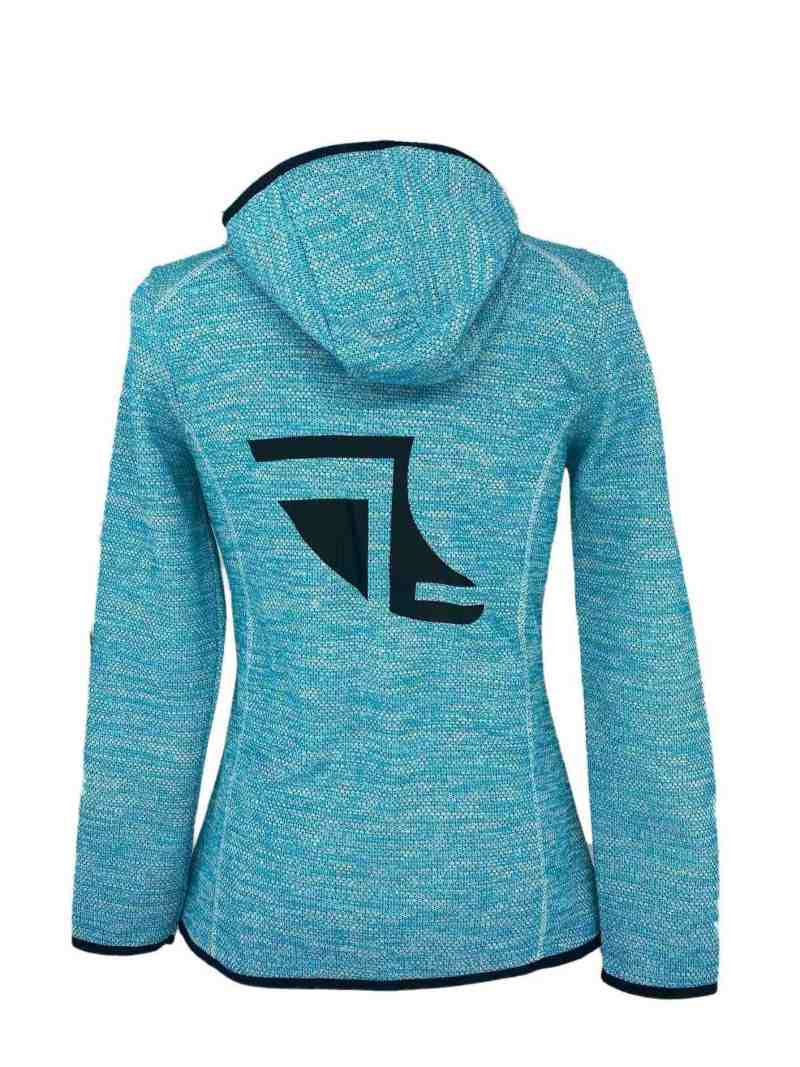 Rear image of Ladies Recycled hooded fleece in Turquoise with ShoreTees Logo in Black