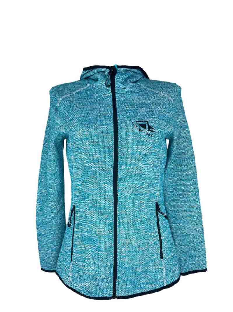 Front on image of Ladies Recycled hooded fleece in Turquoise with Black 'Live Beyond' print