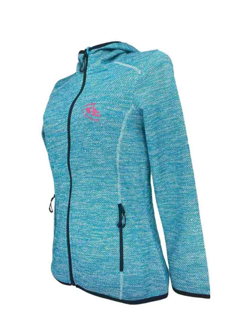 Angled image of Ladies Recycled hooded fleece in Turquoise with Pink 'Live Beyond' print
