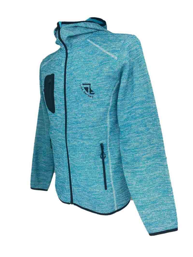 Angled image of Mens Recycled hooded fleece in Turquoise with Black 'Live Beyond' print