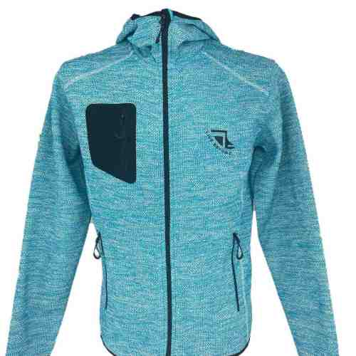Front on image of Men's Recycled hooded fleece in Turquoise with Black 'Live Beyond' print
