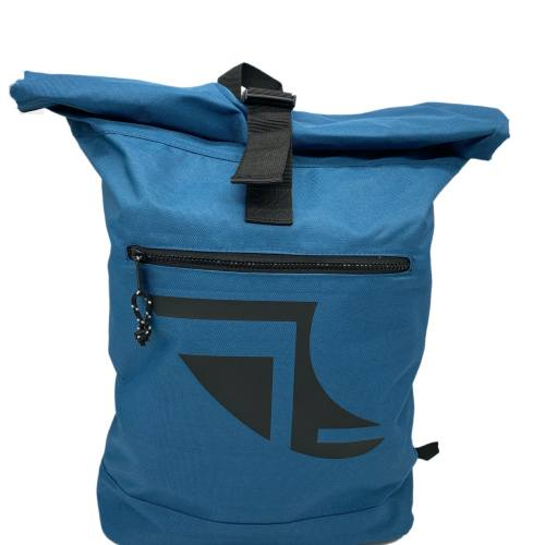 Front on image of Blue 20L Recycled Backpack featuring Fin Logo in Black