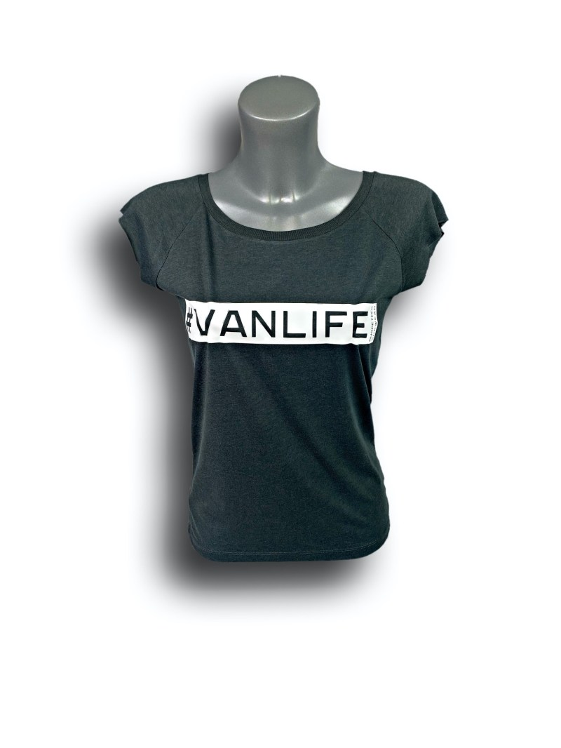 Front image of Ladies Grey Raglan Bamboo T-Shirt with VanLife hashtag in White