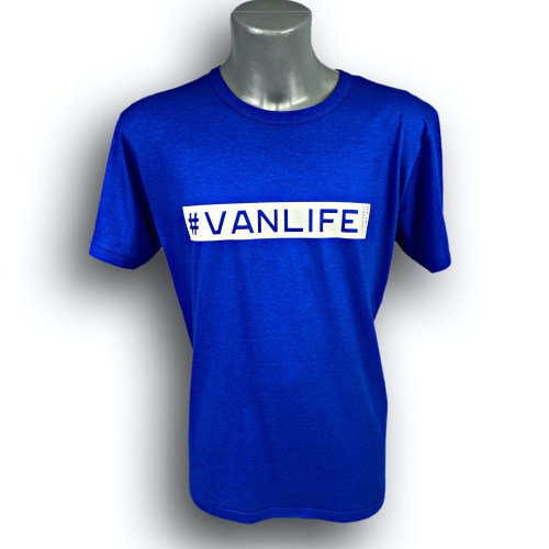 Front image of Mens Midnight Blue Bamboo T-Shirt with VanLife hashtag in White