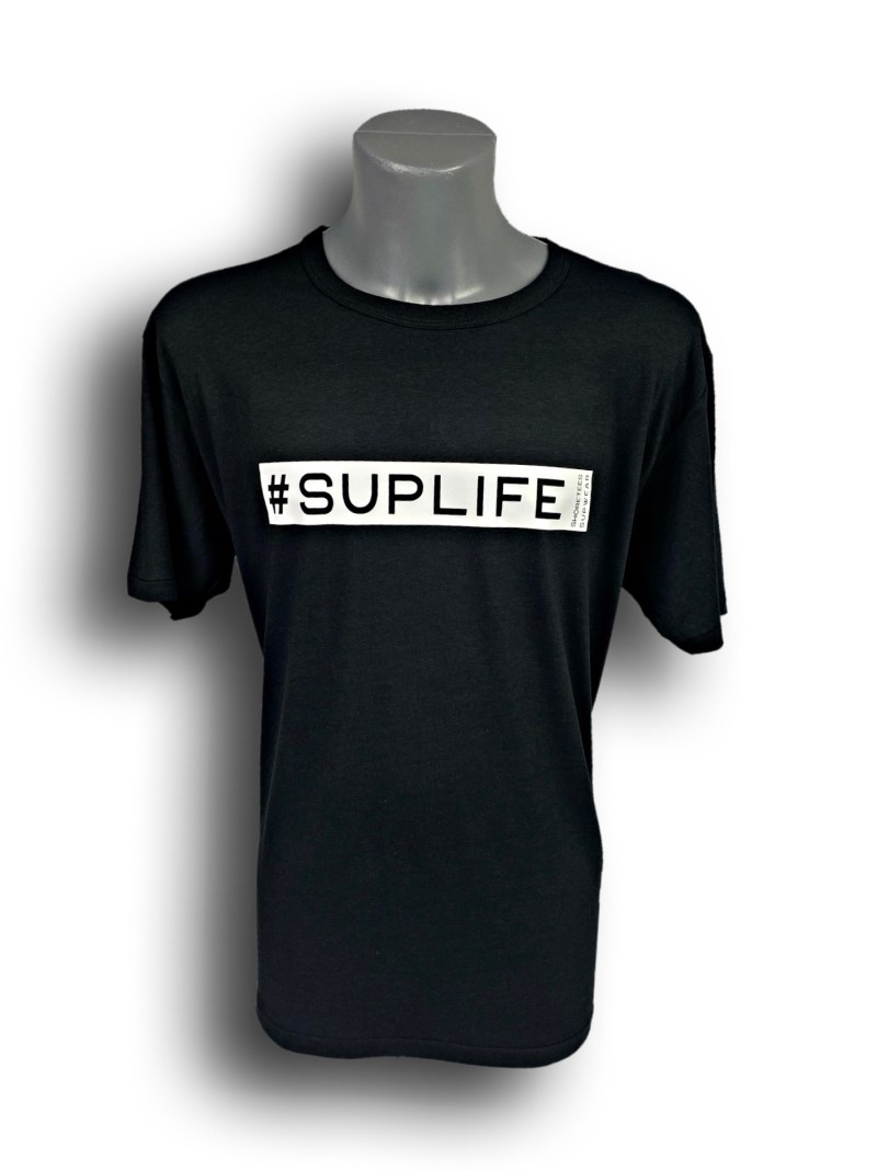 Front image of Mens Black Bamboo T-Shirt with SUPLife hashtag in White