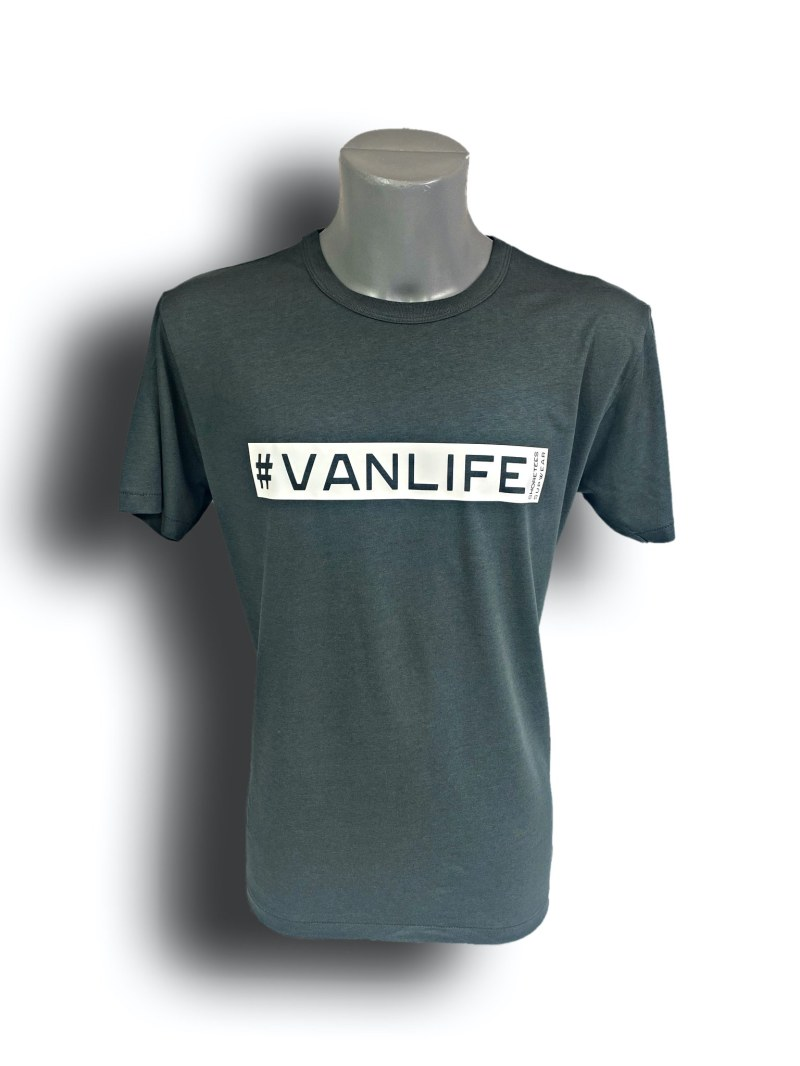 Front image of Mens Grey Raglan Bamboo T-Shirt with VanLife hashtag in White