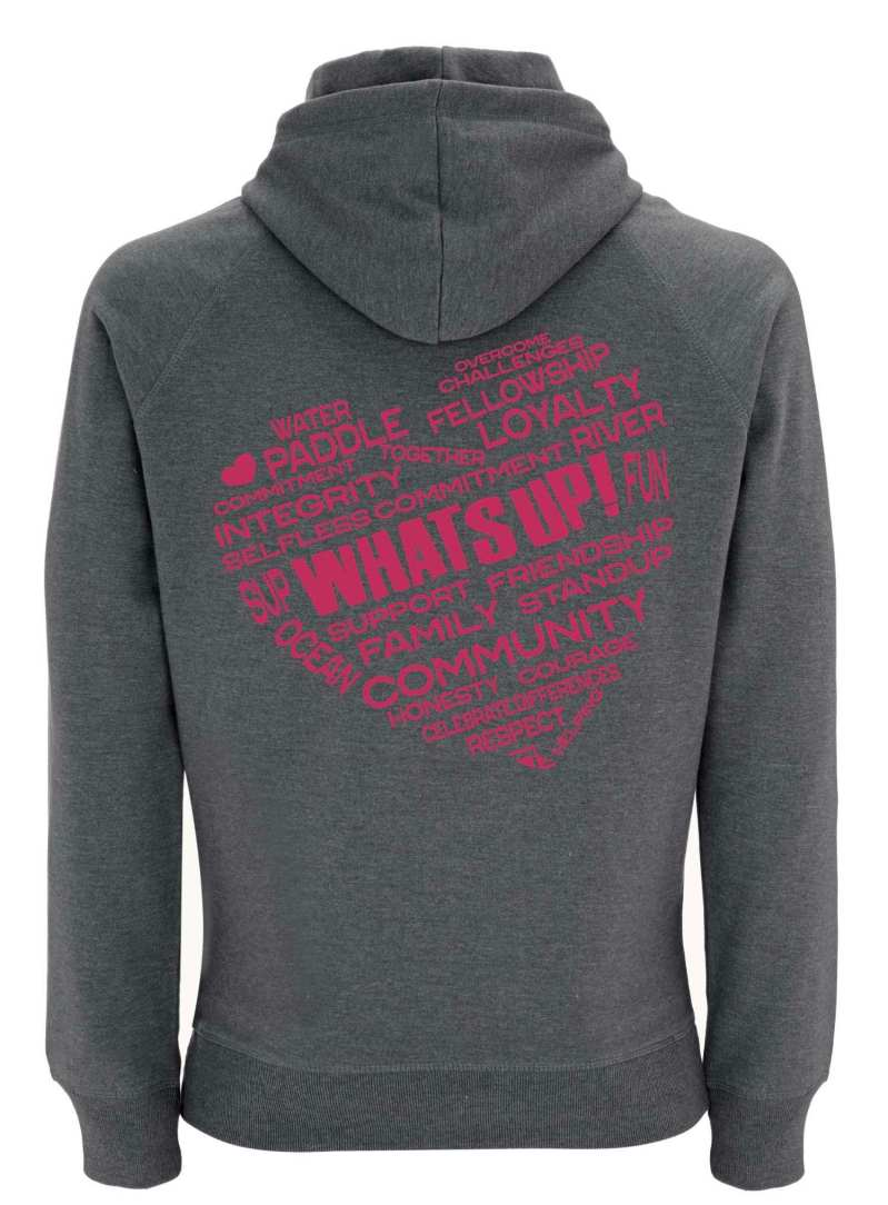 Rear of WhatSUP! unisex recycled Hoodie in Heather with Dusky Red Heart