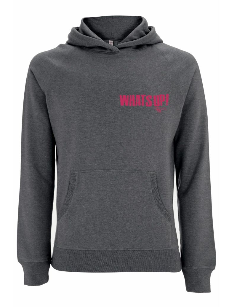 Front of WhatSUP! unisex recycled Hoodie in Heather with Dusky Red Print