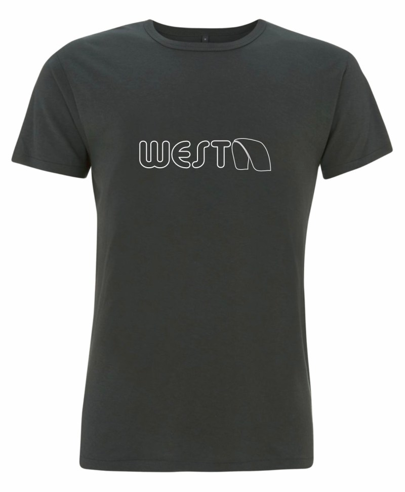 Mens Grey Bamboo T-Shirt with White West Kiteboarding design