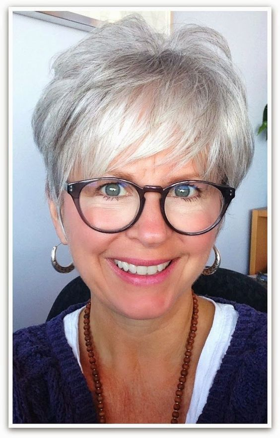 pixie cut hairstyles for over 50 with glasses  novocomtop