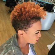 caramel color curly hairstyle