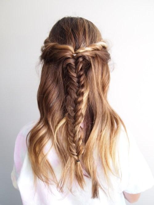 bohemian fishtail hairstyle short