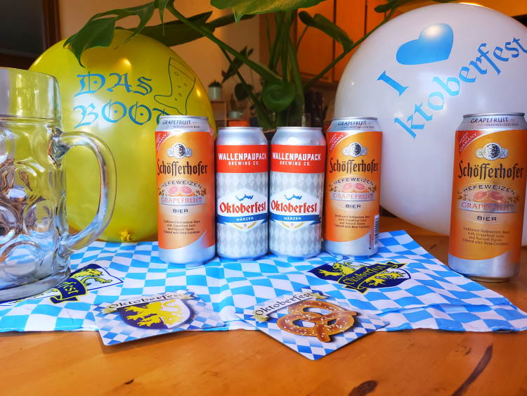 German beers on kitchen table with party supplies