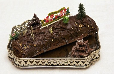 "Home made ""Bûche de Noël"" (yule log), this one is chocolate filled w raspberry jam."