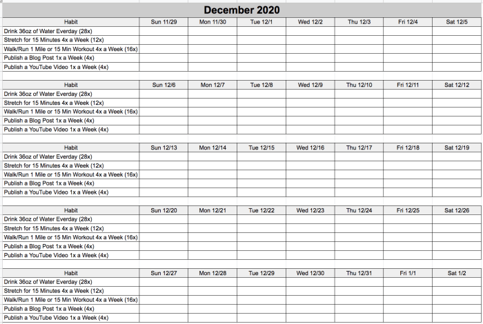 December 2020 Blank Challenge Tracker