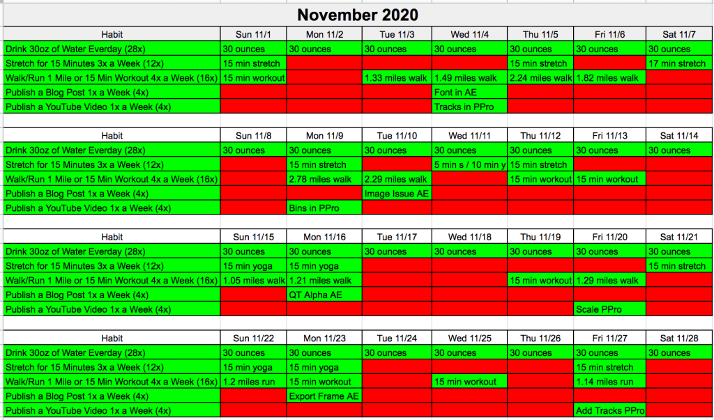 November 2020 Challenge Tracker