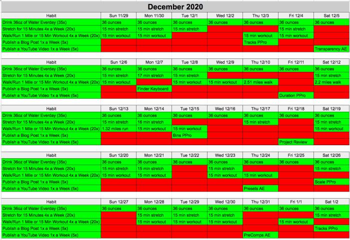 December 2020 Challenge Completed Habit Tracker