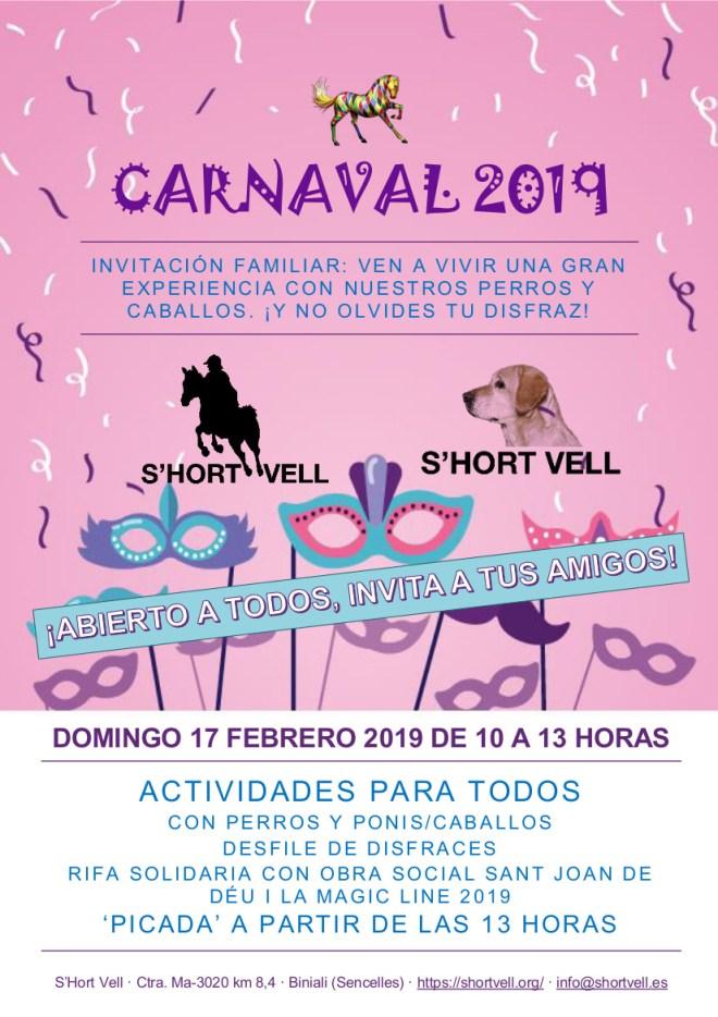 Póster Carnaval 2019 en S'Hort Vell