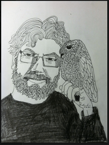 Alex Bledsoe with an Owl by Shoshanah Lee Marohn 2016