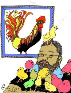 "John Francis is a CHICK MAGNET! (For my next coloring book, ""Birds in Beards."")"