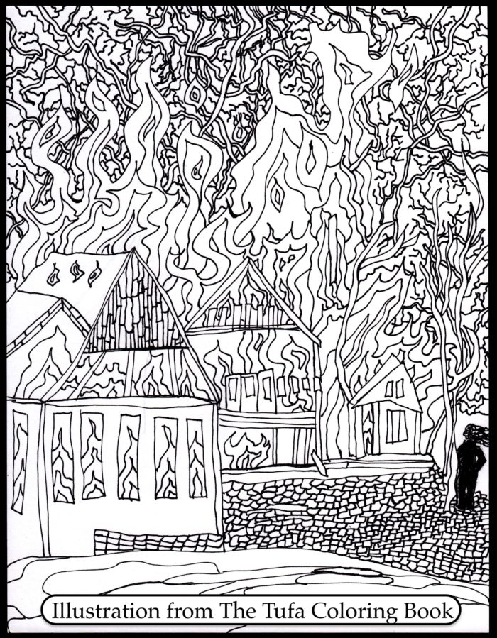 house burning down coloring page