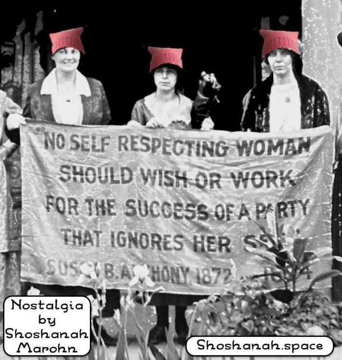 suffragists in pussy hats