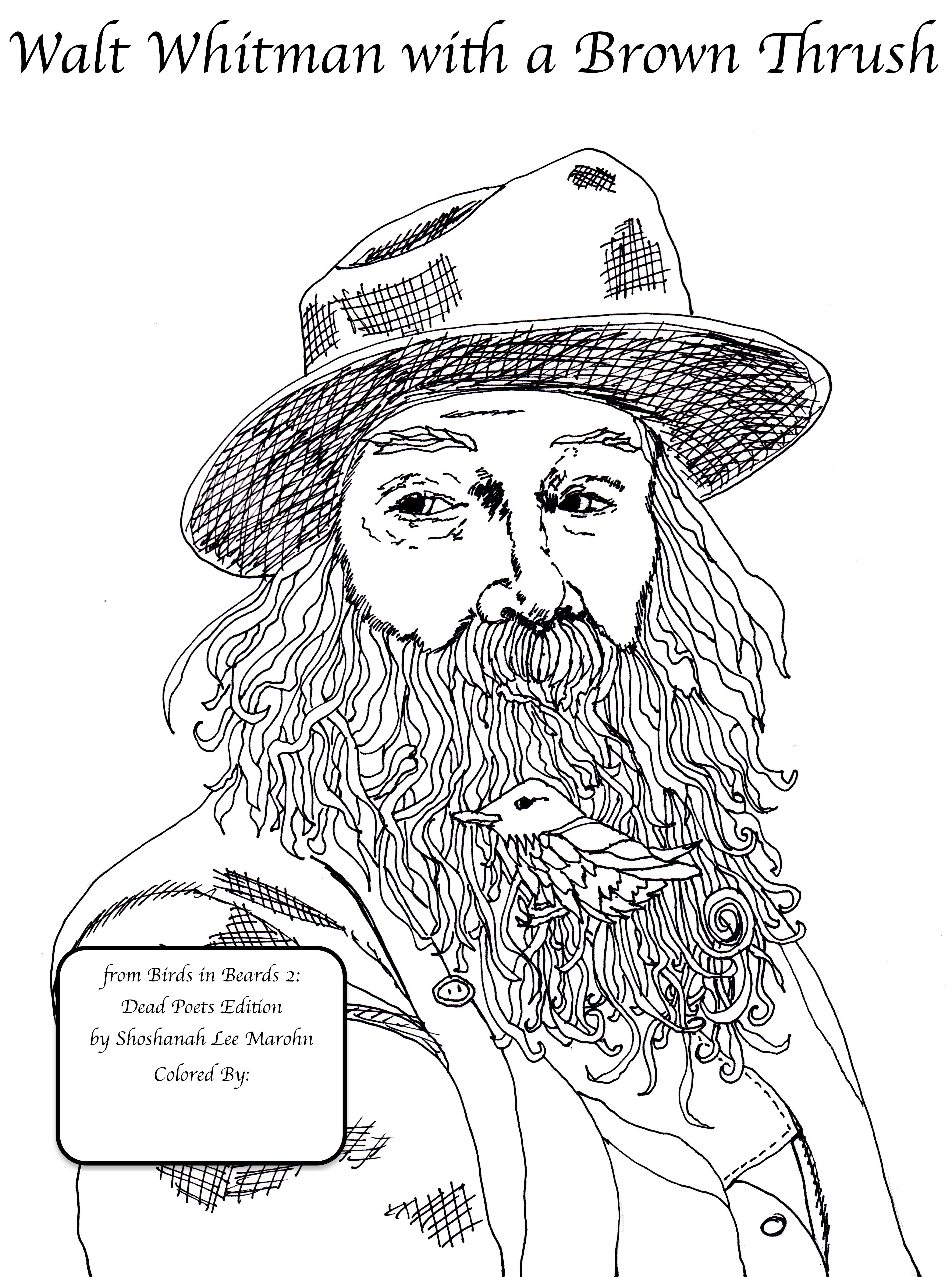 Color Walt Whitman with a Brown Thrush