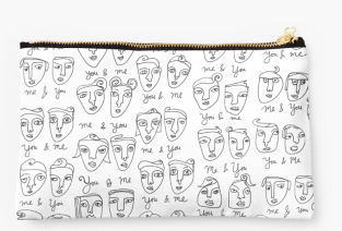line drawing faces pouch