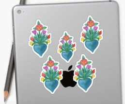 floral hearts sticker RB