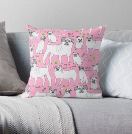 pink pug pillow RB