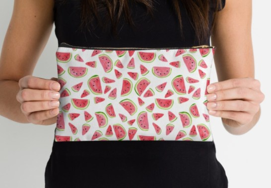 watermelon print zippered pouch by shoshannah scribbles
