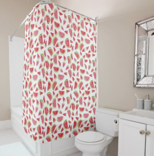 watermelon shower curtain by Shoshannah Scribbles on Zazzle