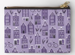 amsterdam houses pouch purple by Shoshannah Scribbles