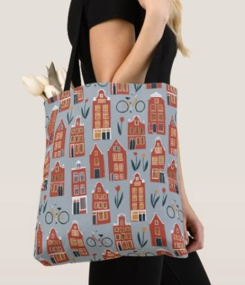 amsterdam houses tote by Shoshannah Scribbles