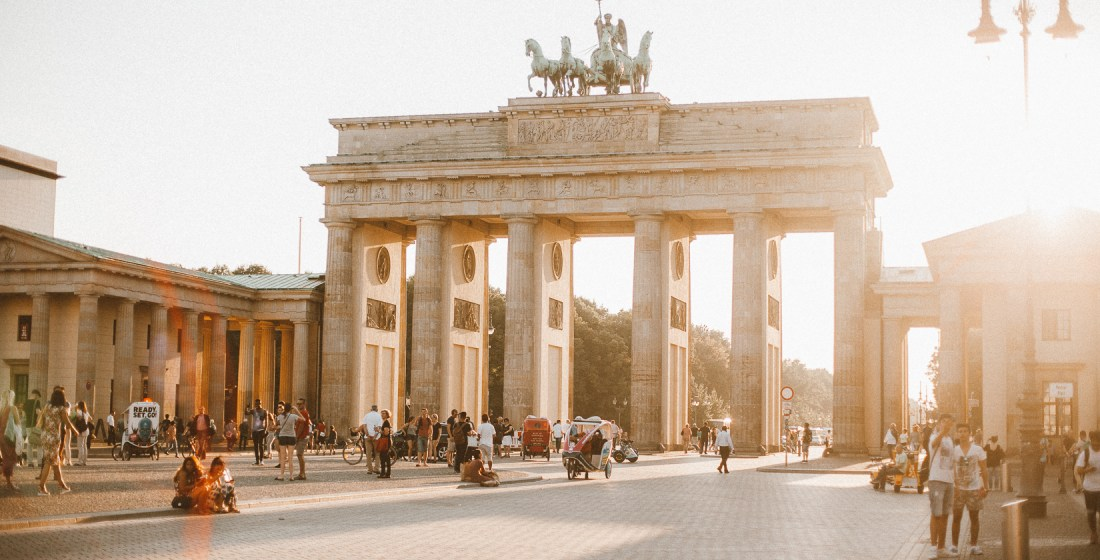Berlin Pariser platz in the sunlight