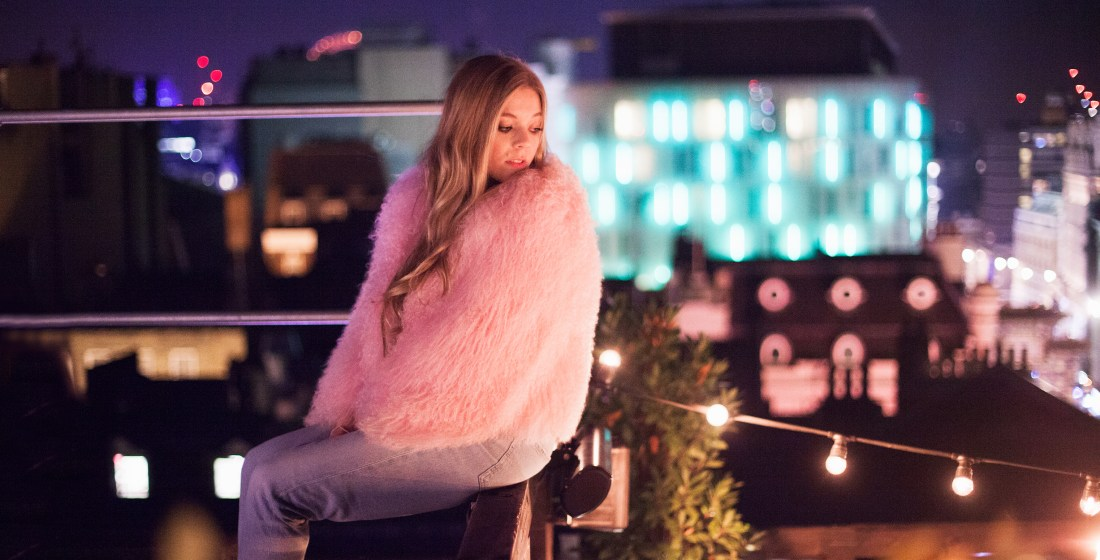 Becky Hill on a Soho rooftop shot by Ailera Stone