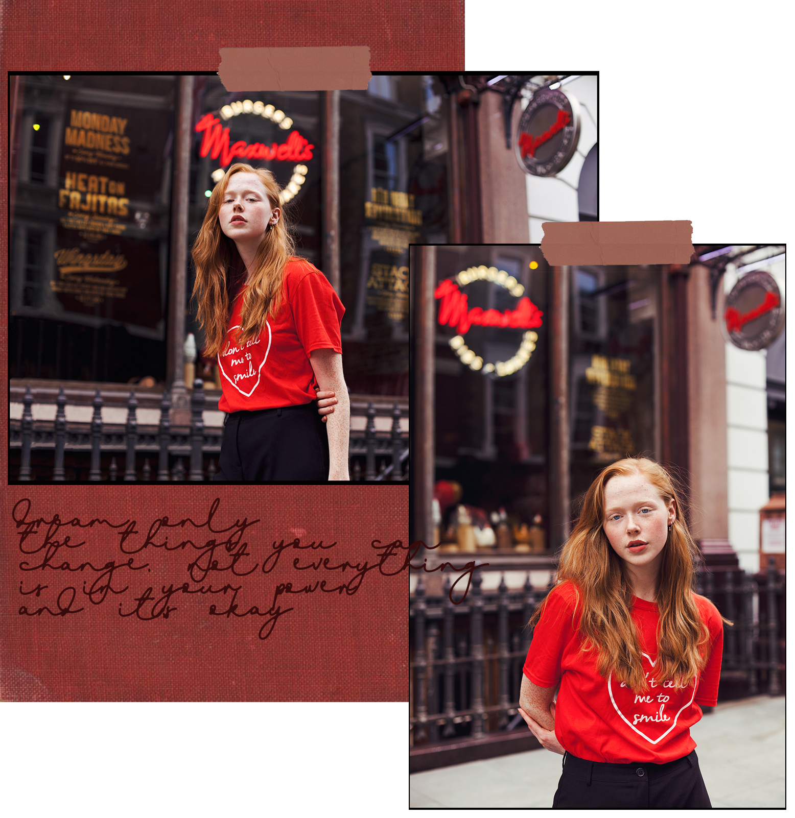 Collage of redhead fashion blogger Holly Rebecca White by Ailera Stone