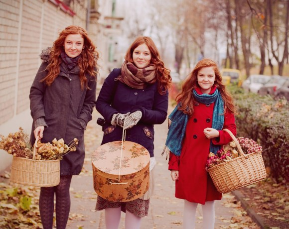 redhead girls with floral baskets by Ailera Stone
