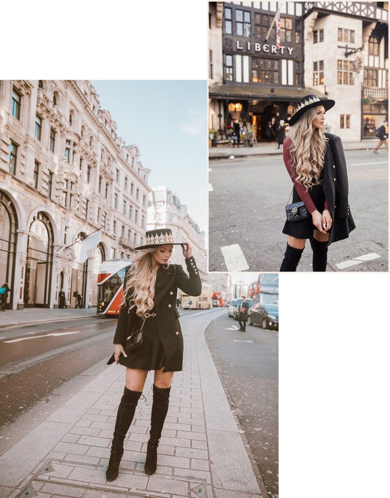 fashion blogger Stephanie Danielle photoshoot on Regent's street by London fashion photographer Ailera Stone