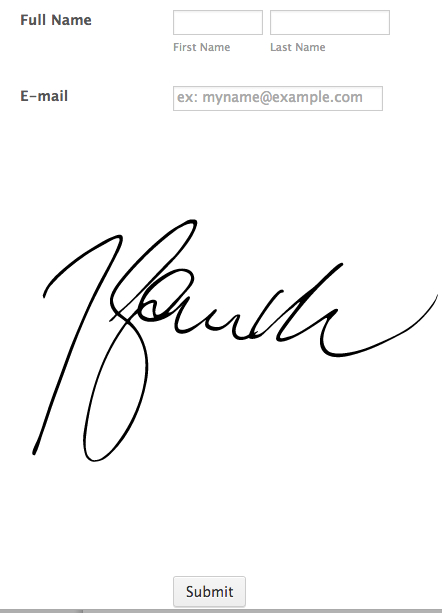 How can I add myname as the signature at the bottom of a form?