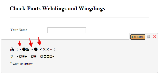 Wingdings and Webdings not working?