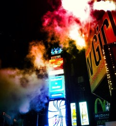 Time square, even the smoke decks up in color #iphoneography #photography #NYC #timesquare